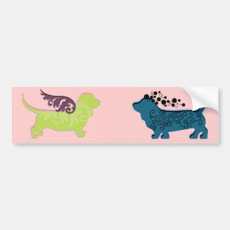 Duas grandes etiquetas dos cães adesivo para carro