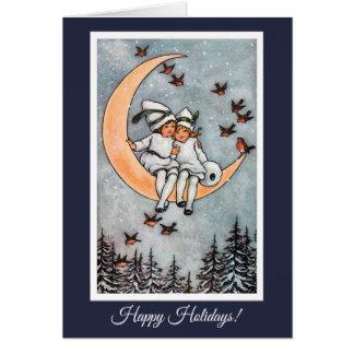 Duas meninas no cartão do natal vintage da lua