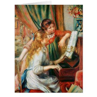 Duas meninas no piano por Renoir grande Cartão Comemorativo Grande