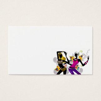 Duas meninas que dançam no vetor floral Illu do Cartão De Visitas
