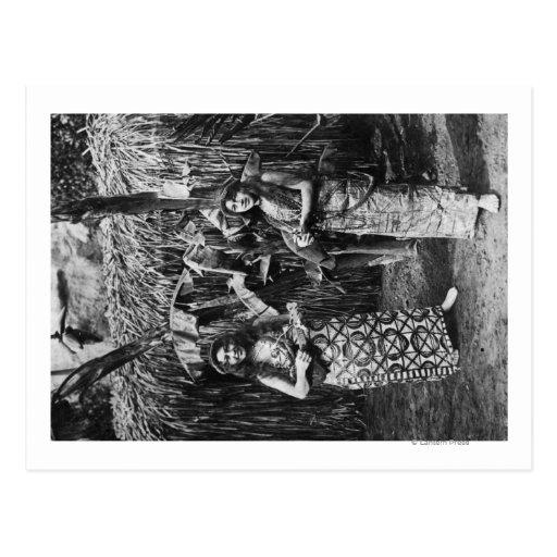 Duas mulheres havaianas com fotografia de cartoes postais