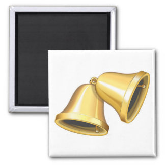 Duas ouro Bels Ímã Quadrado