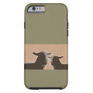 Duas ovelhas negras no fundo tan e verde capa tough para iPhone 6