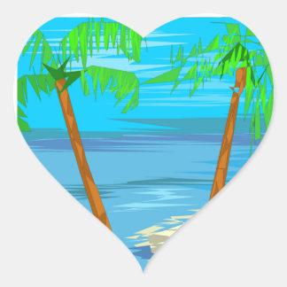 Duas palmeiras que Wedding corações Adesivo Coração