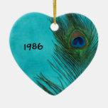 Duas penas do pavão do Aqua Ornamento Para Arvore De Natal