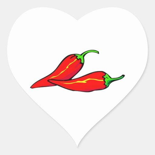 Duas pimentas de pimentão vermelho no lado adesivo em forma de coração