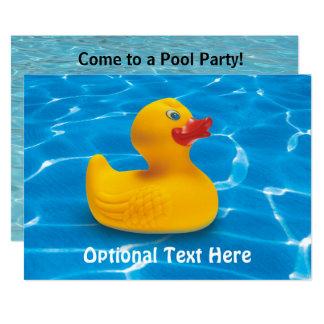 Ducky de borracha no convite da festa na piscina
