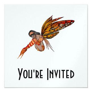 Duende alaranjado da borboleta de monarca 3D - Convite Quadrado 13.35 X 13.35cm
