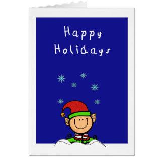 duende bonito na neve boas festas cartão comemorativo