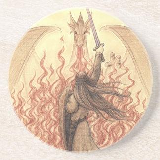Duende contra o dragão porta copos de arenito