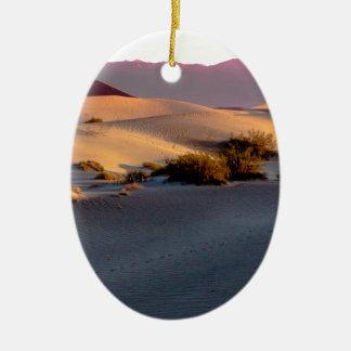 Dunas de areia lisas o Vale da Morte do Mesquite Ornamento De Cerâmica Oval