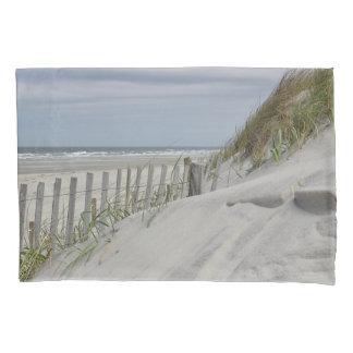 Dunas resistidas da cerca e de areia na praia