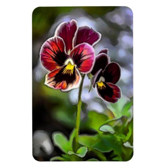 Duo da flor do amor perfeito do Bordéus Foto Com Ímã Retangular