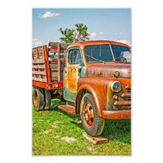 Dupla - caminhão - - vintage - colorido oxidado impressão de foto