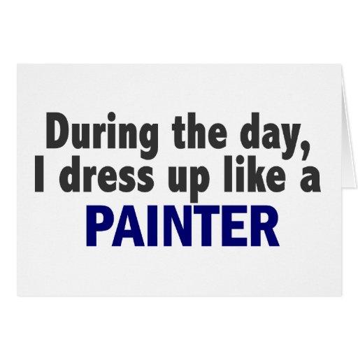 Durante o dia eu visto-me acima como um pintor cartoes