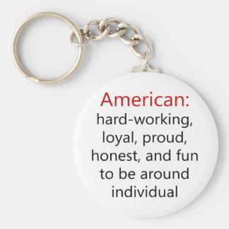 Duro americano que trabalha honesto orgulhoso leal chaveiros