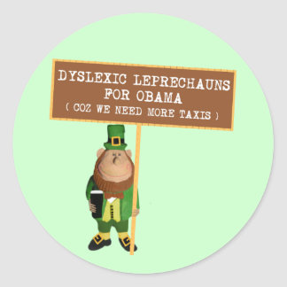 Dyslexic anti Obama da paródia Adesivo Em Formato Redondo