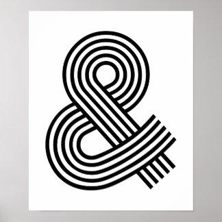 & e atalho do ícone do símbolo do Logogram do Ampe Pôsteres