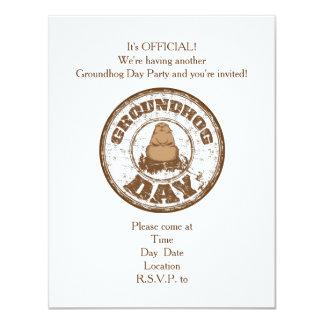 É convite de festas oficial do dia de Groundhog