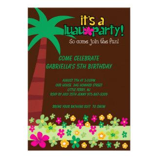 É convite do aniversário do Luau de um party girl