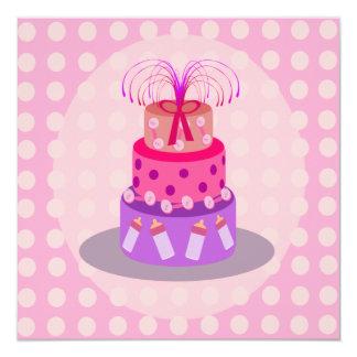 É convites de um chá de fraldas do bolo do rosa da