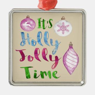 É enfeites de natal alegres do tempo do azevinho
