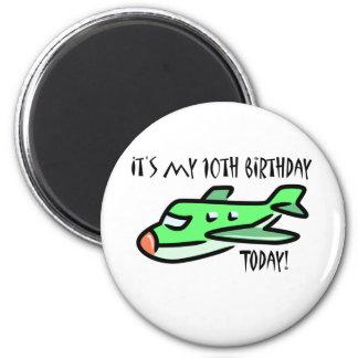 É meu 10o aniversário hoje ímã redondo 5.08cm