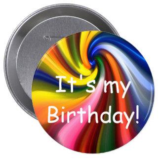 É meu aniversário! Botão Bóton Redondo 10.16cm