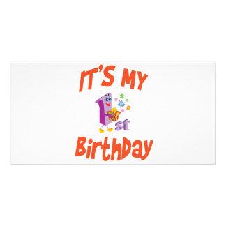 É MEU primeiro aniversario Cartoes Com Foto Personalizados