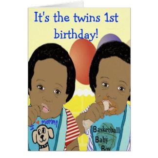 É o cartão de primeiro aniversario dos gêmeos