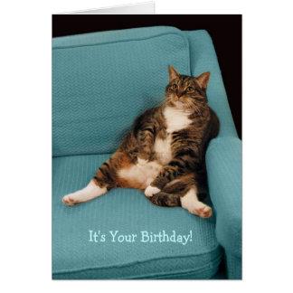 É seu cartão gordo grande do gato de gato malhado