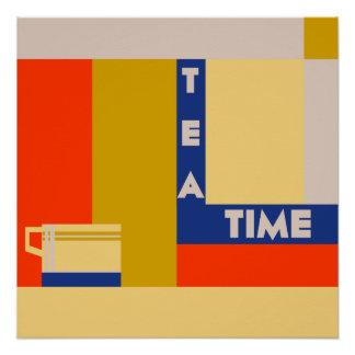 É tempo do chá, art deco geométrico moderno poster perfeito