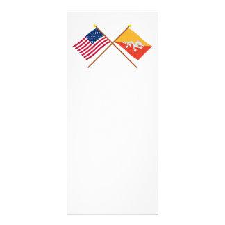 E.U. e bandeiras cruzadas Bhutan 10.16 X 22.86cm Panfleto