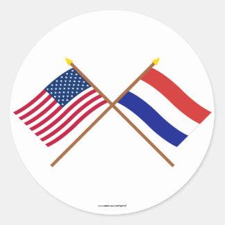 E.U. e bandeiras cruzadas Países Baixos Adesivo