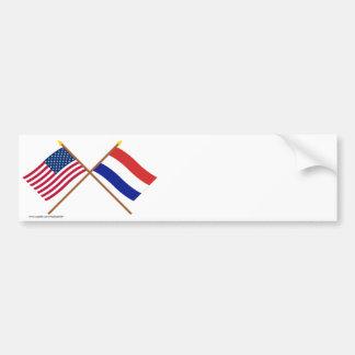 E.U. e bandeiras cruzadas Países Baixos Adesivo Para Carro