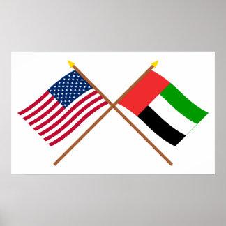 E.U. e bandeiras cruzadas United Arab Emirates Poster