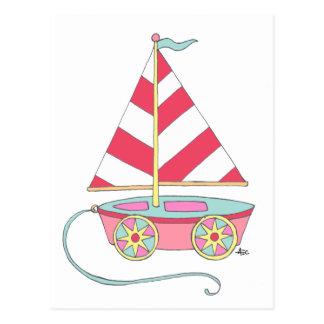 É um cartão do veleiro do brinquedo da menina