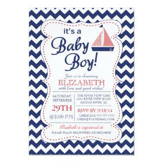 É um chá de fraldas náutico do veleiro do bebé convite 12.7 x 17.78cm