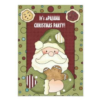 É um convite de festas do pijama do Natal