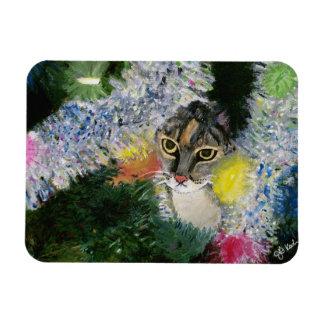 E um gato em um ímã da árvore de Natal