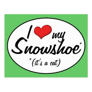 É um gato Eu amo meu sapato de neve Cartoes Postais
