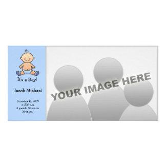 É um menino! Anúncios do nascimento do bebê Cartao Com Fotos Personalizado