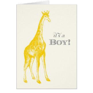É um menino! Cartão de nota do girafa