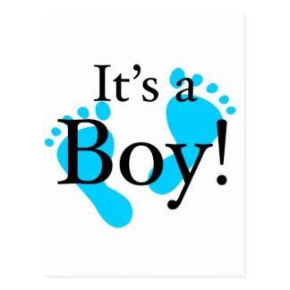 É um menino! - Chá de fraldas recém-nascido Cartões Postais