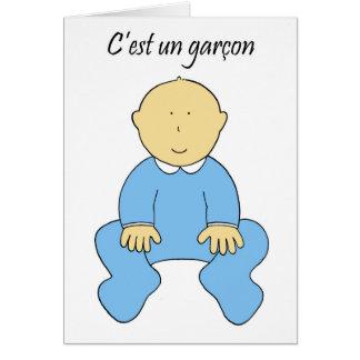 """""""É um menino"""" em un francês, o mais c'est garcon. Cartão Comemorativo"""