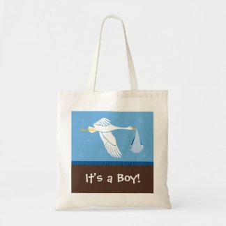 É um menino! Saco - azul e Brown Bolsa Para Compra