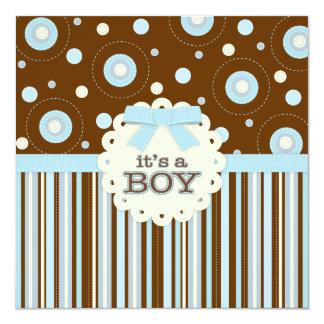 É um Pastel do menino no chá de fraldas dos pontos Convite Quadrado 13.35 X 13.35cm