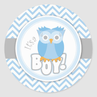 É uma etiqueta azul da coruja do menino