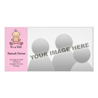 É uma menina! Anúncios do nascimento do bebê Cartao Com Fotos