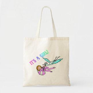 É uma menina (bebê/cegonha) bolsas para compras
